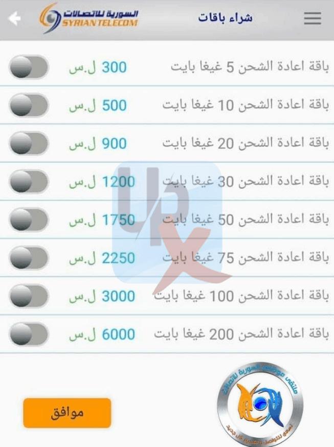 السورية للاتصالات شراء باقات